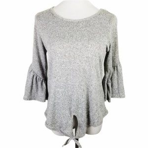 CAUTION TO THE WIND Ash Gray Bell Sleeve Tied Top